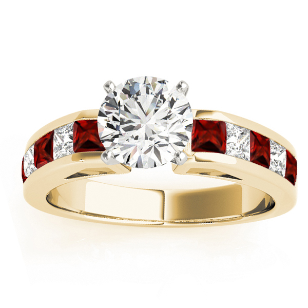 and garnet accented engagement ring 18k yellow