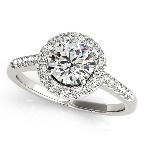 Halo Round Diamond Engagement Ring 14k White Gold (1.38ct)