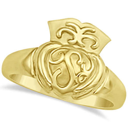 Irish Claddagh Ring Celtic for Men or Women 14k Yellow Gold (14mm)