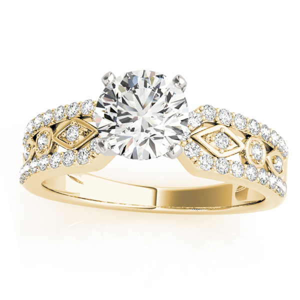 Diamond Multi-Row Engagement Ring Setting 14k Yellow Gold (0.22 ct)