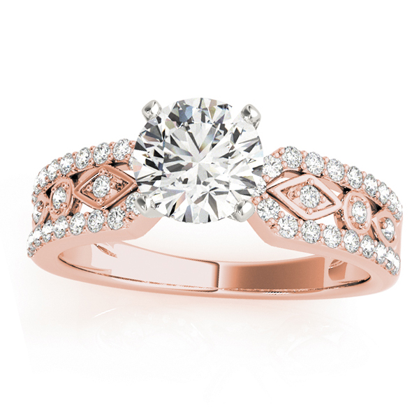 Diamond Multi-Row Engagement Ring Setting 18k Rose Gold (0.22 ct)