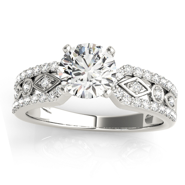 Diamond Multi-Row Engagement Ring Setting 18k White Gold (0.22 ct)