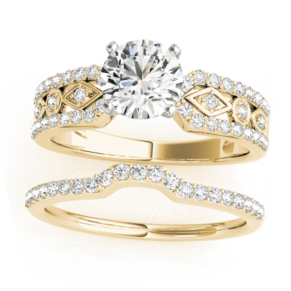 Diamond Accented Multi-Row Bridal Set Setting 14k Yellow Gold (0.38 ct)