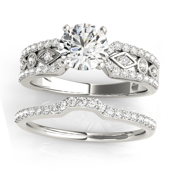 Diamond Accented Multi-Row Bridal Set Setting 18k White Gold (0.38 ct)