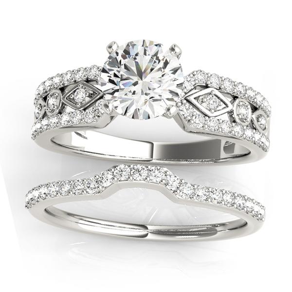 Diamond Accented Multi-Row Bridal Set Setting Platinum (0.38 ct)