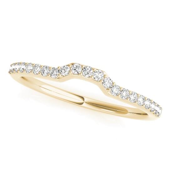 Diamond Contoured Wedding Band 18k Yellow Gold (0.16 ct)