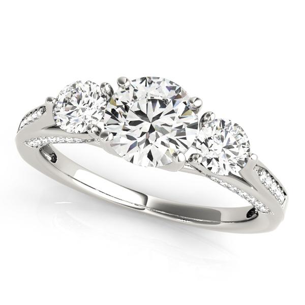 Three Stone Round Engagement Ring Platinum (1.69ct)