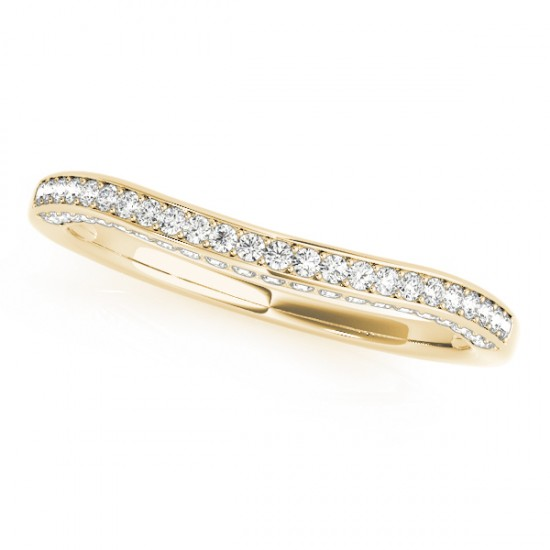 Curved Band Diamond Wedding Band 18k Yellow Gold (0.23ct)