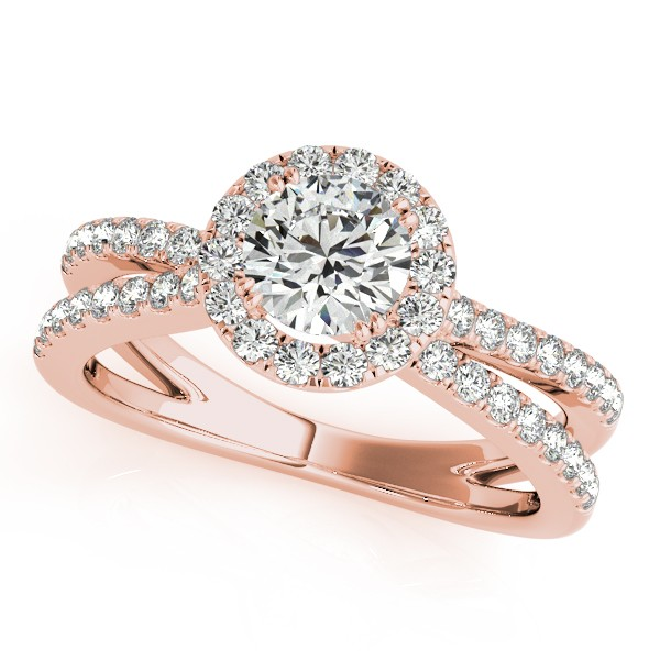 Diamond Frame Engagement Ring, Split Shank, Halo 14k R. Gold 1.25ct