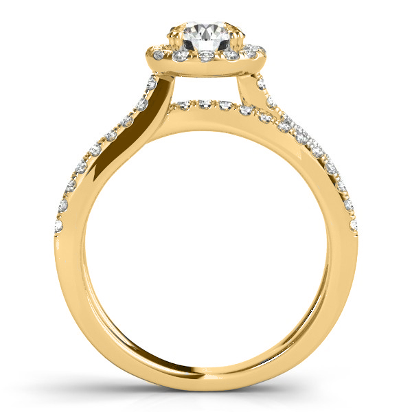 Diamond Frame Split Shank Ring & Band Bridal Set 14k Y. Gold 1.50ct
