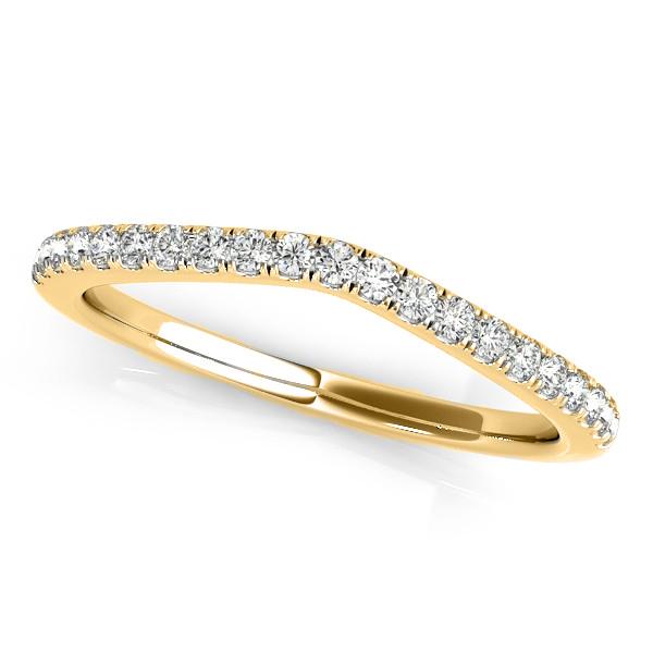 Diamond Contour Wedding Ring, Prong Set in 14k Yellow Gold 0.21ct