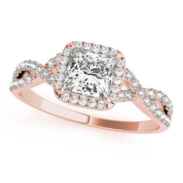Twisted Princess Moissanite Engagement Ring 14k Rose Gold (0.50ct)