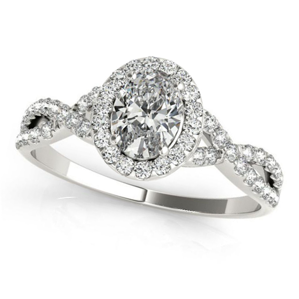 Twisted Oval Moissanite Engagement Ring 14k White Gold (1.50ct)