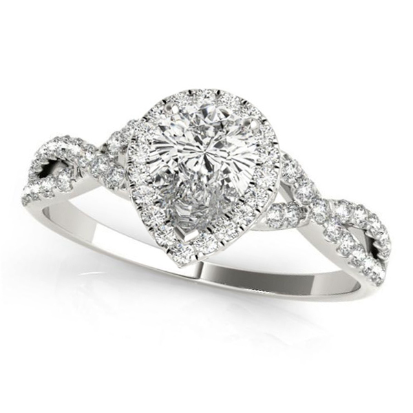 Twisted Pear Moissanite Engagement Ring 14k White Gold (0.50ct)
