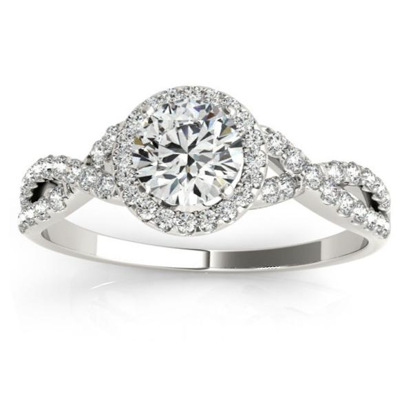 Twisted Infinity Halo Engagement Ring Setting 14k White Gold (0.20ct)
