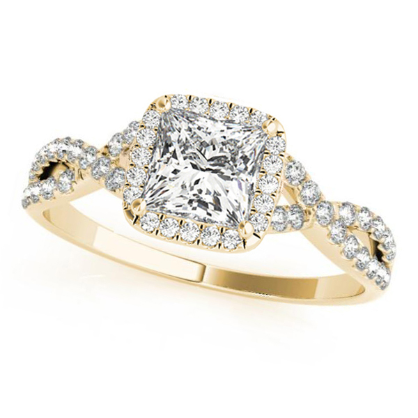 Twisted Princess Moissanite Engagement Ring 14k Yellow Gold (1.50ct)