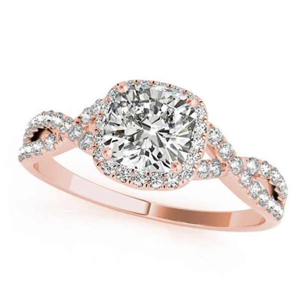 Twisted Cushion Moissanite Engagement Ring 18k Rose Gold (0.50ct)