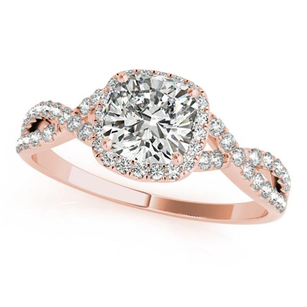 Twisted Cushion Moissanite Engagement Ring 18k Rose Gold (1.50ct)