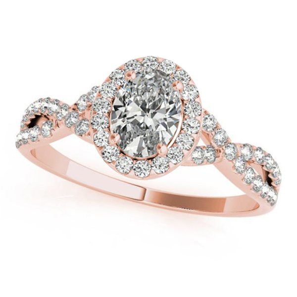 Twisted Oval Moissanite Engagement Ring 18k Rose Gold (2.00ct)