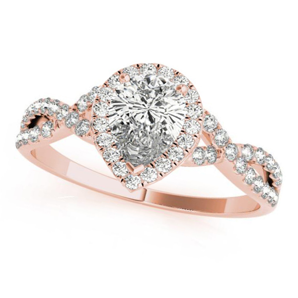 Twisted Pear Moissanite Engagement Ring 18k Rose Gold (1.00ct)