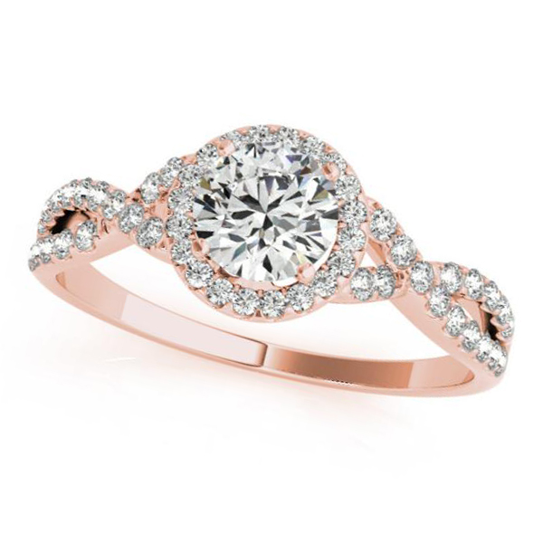 Twisted Round Moissanite Engagement Ring 18k Rose Gold (0.50ct)