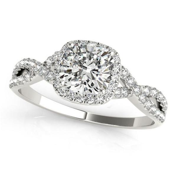 Twisted Cushion Moissanite Engagement Ring 18k White Gold (1.00ct)