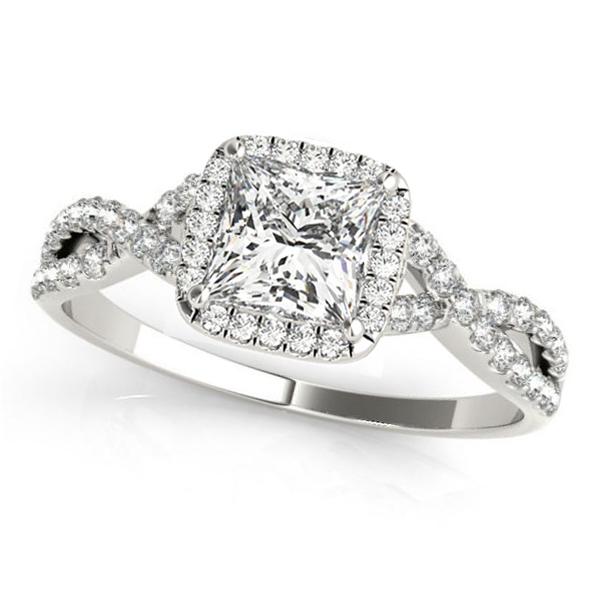 Twisted Princess Moissanite Engagement Ring 18k White Gold (1.00ct)