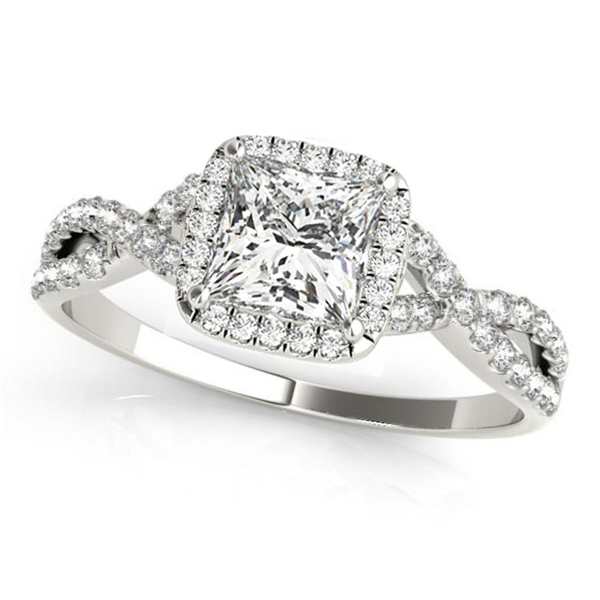 Twisted Princess Moissanite Engagement Ring 18k White Gold (1.50ct)