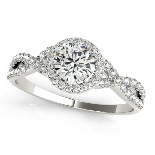 Twisted Round Moissanite Engagement Ring 18k White Gold (0.50ct)