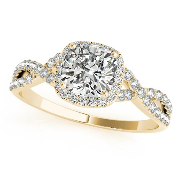 Twisted Cushion Moissanite Engagement Ring 18k Yellow Gold (0.50ct)