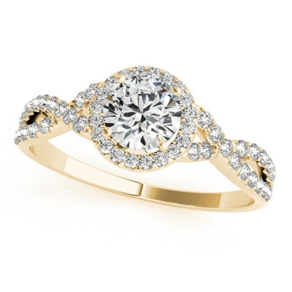 Twisted Round Moissanite Engagement Ring 18k Yellow Gold (1.00ct)