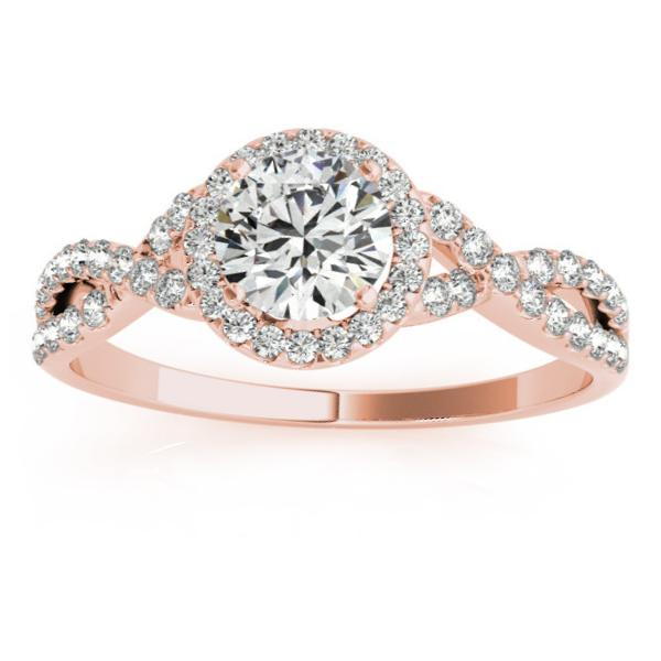 Twisted Lab Grown Diamond Infinity Halo Engagement Ring Setting 18k Rose Gold (0.20ct)
