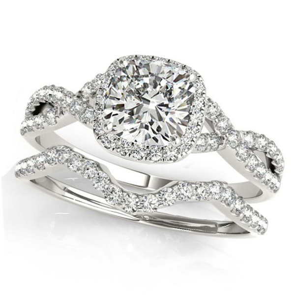 Twisted Cushion Moissanite Bridal Sets 14k White Gold (0.57ct)