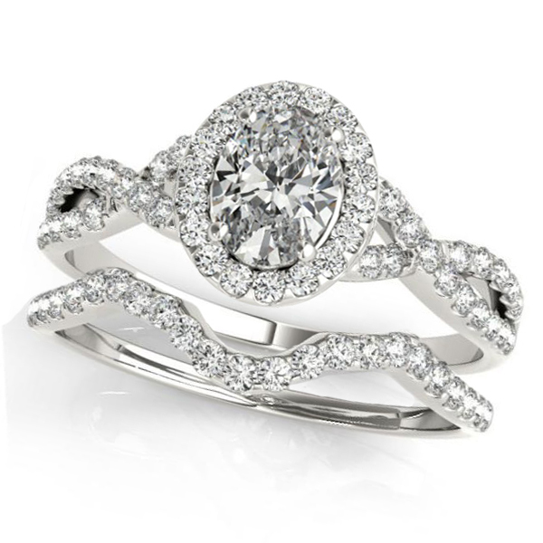 Twisted Oval Moissanite Bridal Sets 14k White Gold (0.57ct)