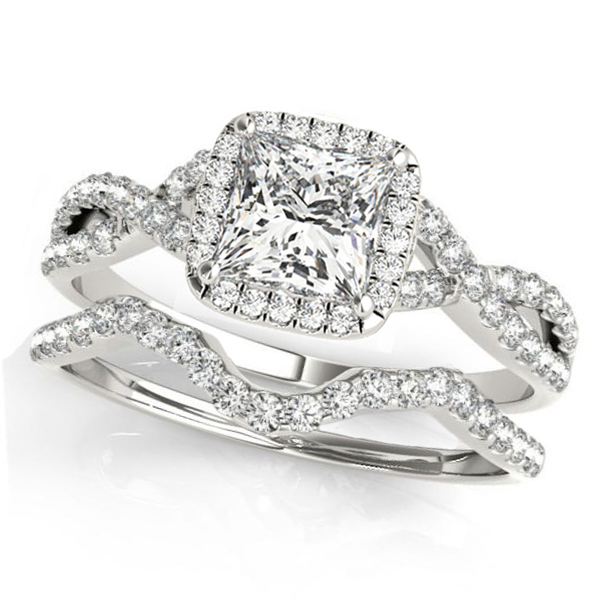Twisted Princess Moissanite Bridal Sets 14k White Gold (0.57ct)