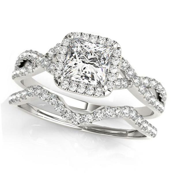 Twisted Princess Moissanite Bridal Sets 14k White Gold (0.57ct)