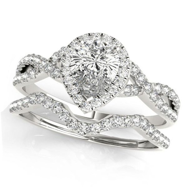 Twisted Pear Moissanite Bridal Sets 14k White Gold (0.57ct)