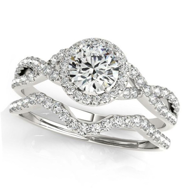 Twisted Round Moissanite Bridal Sets 14k White Gold (0.57ct)