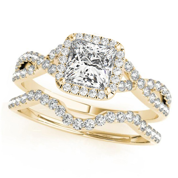 Twisted Princess Moissanite Bridal Sets 14k Yellow Gold (0.57ct)