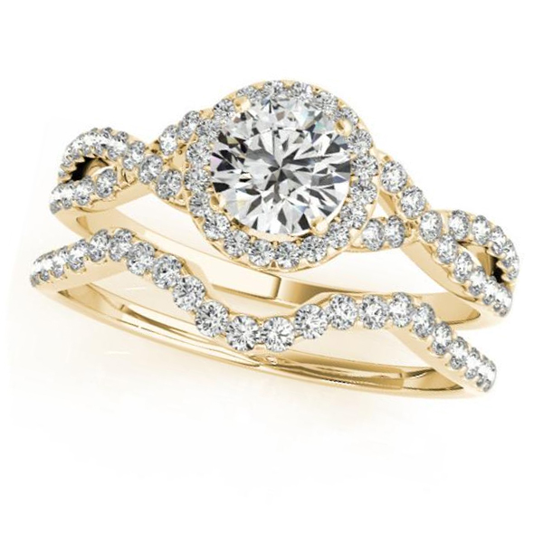 Twisted Round Moissanite Bridal Sets 14k Yellow Gold (0.57ct)