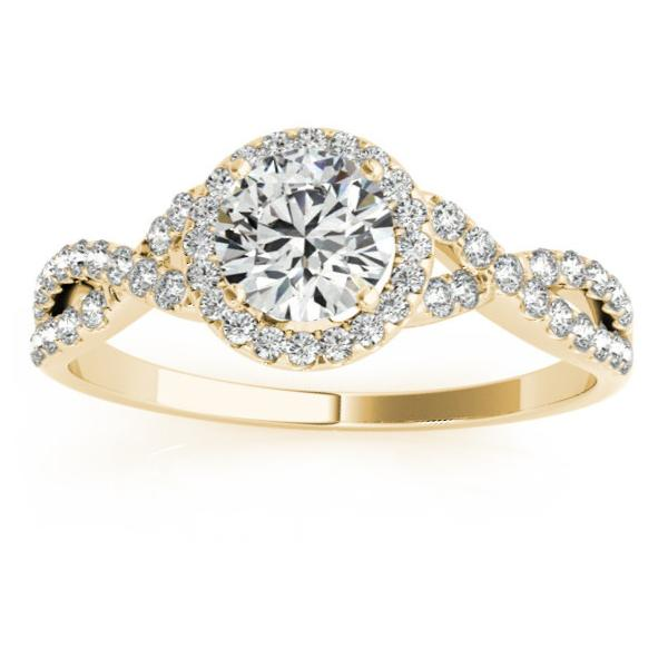 Twisted Infinity Engagement Ring Bridal Set 14k Yellow Gold 0.27ct