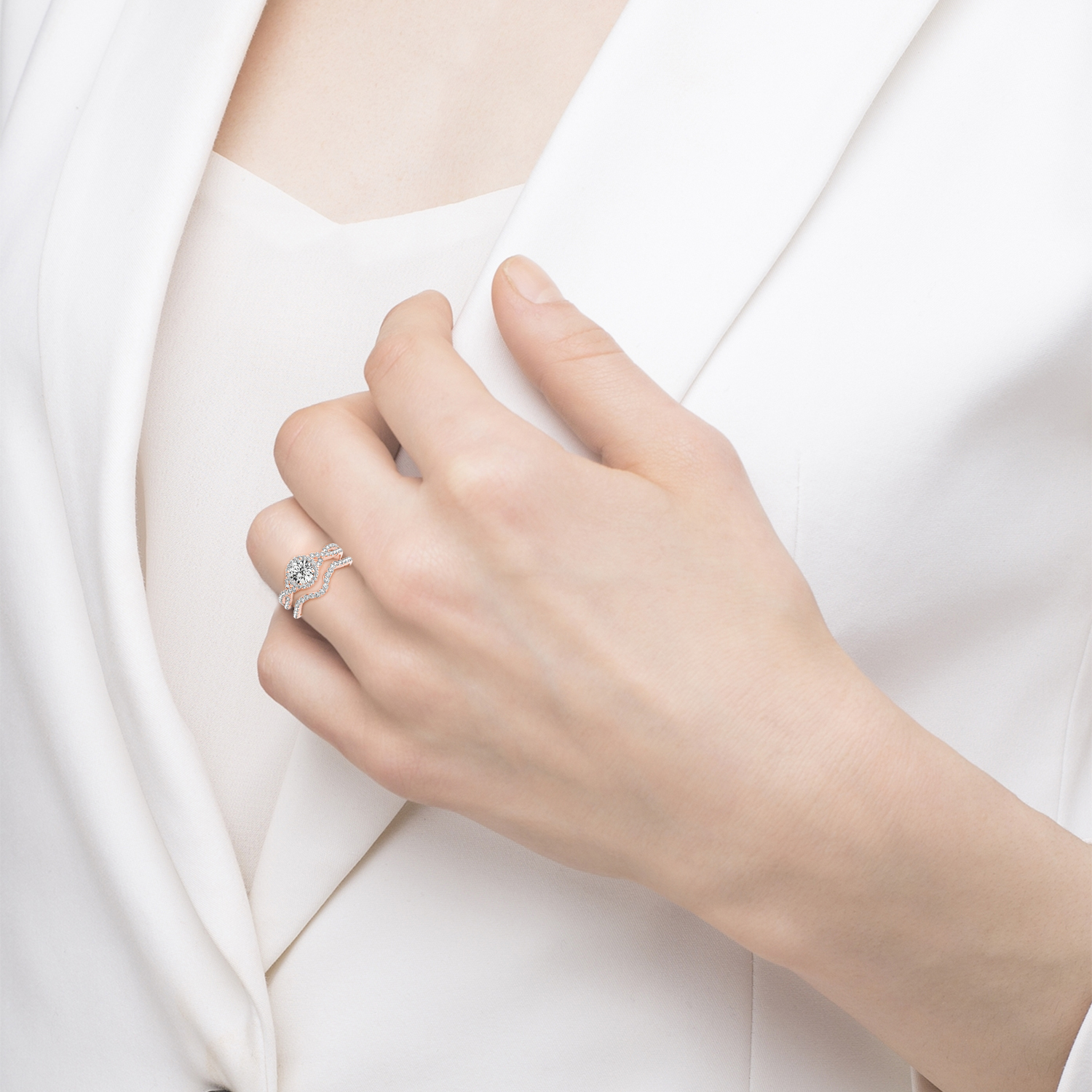 Twisted Infinity Engagement Ring Bridal Set 18k Rose Gold 0 27ct