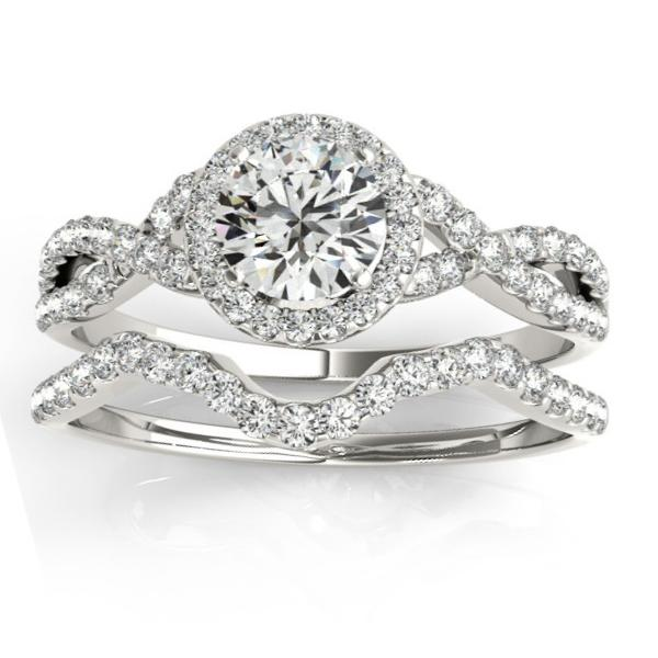 Twisted Infinity Engagement Ring Bridal Set Palladium 0.27ct
