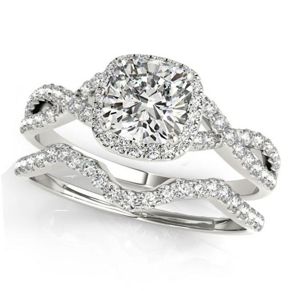 Twisted Cushion Moissanite Bridal Sets Platinum (1.57ct)