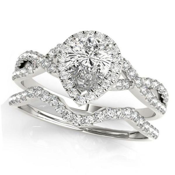 Twisted Pear Moissanite Bridal Sets Platinum (1.57ct)