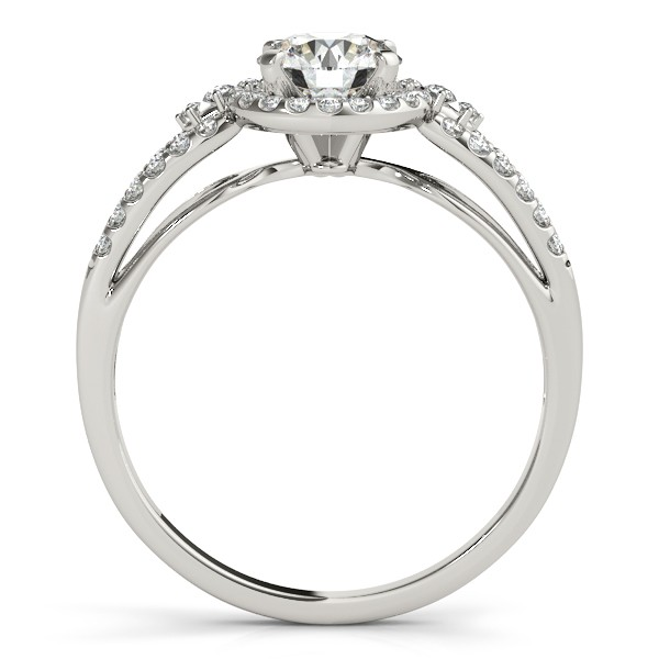 Split Shank Halo Diamond Engagement Ring Setting 14k White Gold 0.30ct