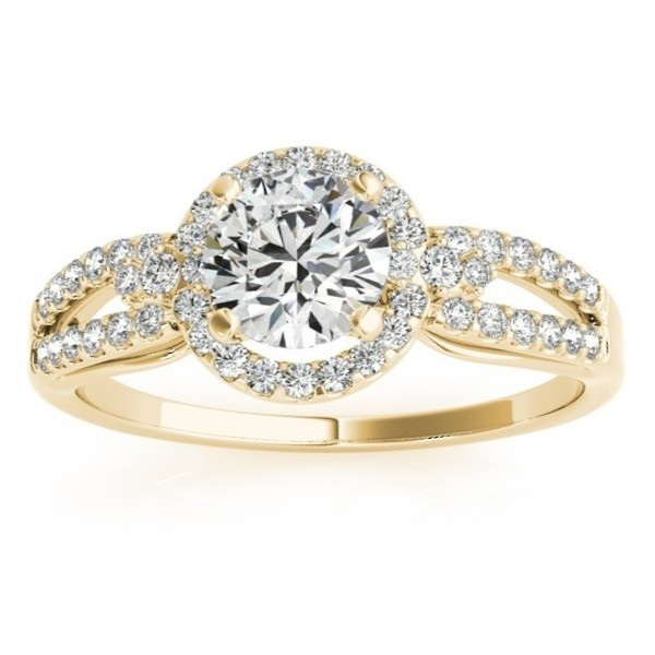 Split Shank Halo Diamond Engagement Ring Setting 14k Y. Gold (0.30ct)