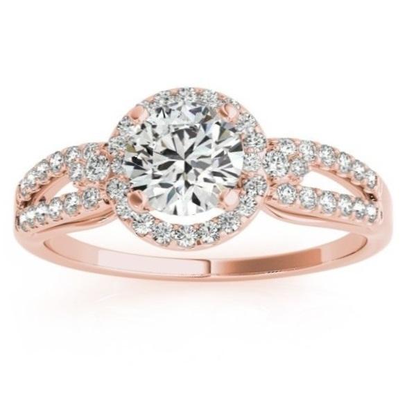 Diamond Engagement Ring Setting & Wedding Band 14k Rose Gold (0.41ct)