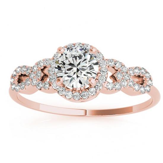 Diamond Halo Twisted Engagement Ring & Band Set 14k Rose Gold 0.35ct