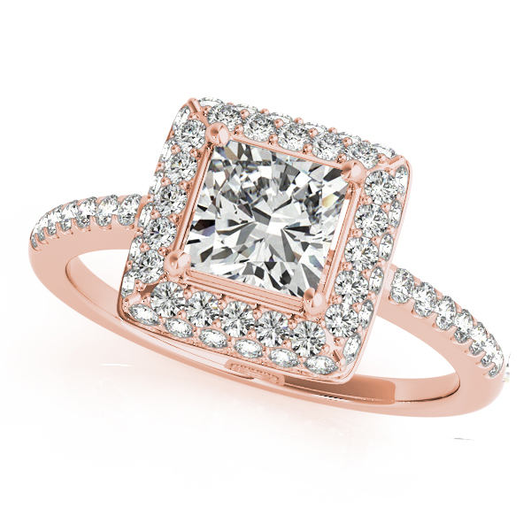Cushion Cut Diamond Halo Bridal Set 18k Rose Gold (2.20ct)